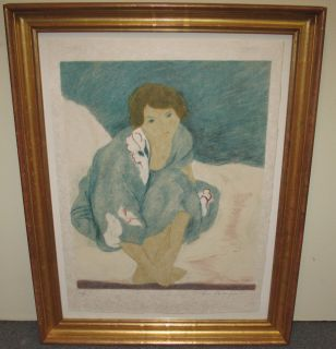 """RENEE BENJAMIN LITHOGRAPH """"Blue Flower Dress"""" Renee Benjamin Lithograph, Titled """"Blue Flower Dress"""". Artist signed and numbered 60 of 120. Nicely Framed. Frame measures 35"""" tall x 27"""" wide. Condition is good. No damage. Starting Bid $150. Auction Estimate $150 - $400."""