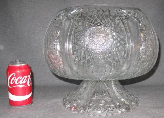 """Vintage Cut Crystal Punch Bowl Vintage Cut Crystal Punch Bowl. Very Heavy. Measures 11"""" tall x 14"""" wide. Overall condition is Excellent. No damage at all. Several Shipping Options Available. Starting Bid $80. Auction Estimate $80 - $300."""