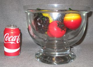 """Glass Seafood/Caviar Server with Glass Fruit Large Glass, 2 part Seafood/Caviar Server Bowl with 4 pieces of Glass Fruit. 2 part Bowl measures 8-1/4"""" tall x 10-1/4"""" wide. Overall condition is very good. No damage. Starting Bid $40. Auction Estimate $40 - $150."""