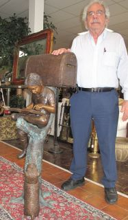 """Bronze Boy & Dog Mailbox Bronze Boy & Dog Mailbox Sculpture. High Quality Bronze with excellent Detail and patina. Measures 50"""" tall x 20"""" wide x 20"""" deep. Condition is Brand New, Mint. No Damage at all. Starting Bid $1,000. Auction Estimate $1,000 - $3,000."""