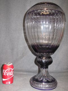 """Amethyst Cut Crystal Vase Large Amethyst Cut Crystal Vase. Heavy European Crystal. Measures 19-1/4"""" tall x 10"""" wide. Condition is Excellent. Mint. No damage. Starting Bid $100. Auction Estimate $100 - $400."""