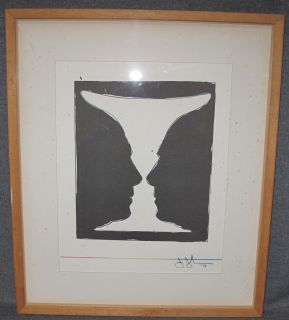"""Jasper Johns Limited Edition Litho Cup 2 Picasso 1973 Framed, Jasper Johns Limited Edition Lithograph Titled """"Cup 2 Picasso 1973"""". Stamp signed signature. Frame measures 18-1/2"""" tall x 15-3/4"""" wide. Condition is good. No damage. Starting Bid $150. Auction Estimate $150 - $350."""