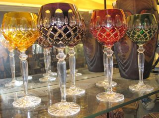 """6 Multi-Color Bohemian Cut Crystal Wine Glasses Beautiful Set of 6 Multi-Color Bohemian Cut to Clear Crystal Wine Glasses. Heavy and high quality European Leaded Crystal. Each measures 8-3/4"""" tall. Condition is New, Mint. No Damage. Includes Fitted and lined Gift Box. Starting Bid $100 for all 6. Auction Estimate $150 - $250."""