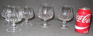 """5 Waterford Crystal Lismore Glasses 5 Waterford Crystal Lismore Glasses. 2 are 5"""" tall Brandy Snifters and 3 smaller 4-1/2"""" Snifters. Condition of all is Excellent. Mint. No damage. Bottoms are marked. Starting Bid $50. Auction Estimate $50 - $100."""