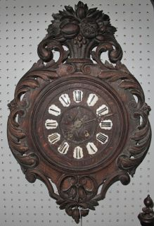 """Antique Wall Clock Antique Wall Clock. Measures 24"""" tall x 17"""" wide. Condition is good. Some Wear. Starting Bid $80. Auction Estimate $100 - $200."""