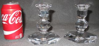 """Pair (2) of Val St Lambert Crystal Candleholders Pair (2) of Val St Lambert Crystal Candleholders. Each measures 5"""" tall x 5"""" wide. Condition is Excellent. Mint. No damage. Starting Bid $40. Auction Estimate $40 - $80."""