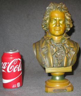 """Vintage Cast Spelter Beethoven Bust Statue Vintage Cast Spelter Beethoven Bust Statue. Measures 11-1/2"""" tall. Condition is good to fair. Some minor paint loss and wear. Starting Bid $60. Auction Estimate $60 - $90."""