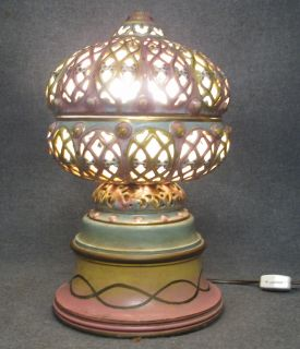 """Antique Reticulated Porcelain Boudoir Lamp Antique Reticulated Porcelain Boudoir Lamp. Measures 12"""" tall x 7"""" wide. Condition is good to fair. Some Wear. Starting Bid $30. Auction Estimate $30 - $60."""
