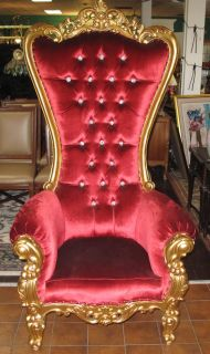 RED VELVET & GOLD BAROQUE THRONE CHAIR Red Velvet & Gold Baroque Style Tufted, High Back Throne Chair. Measures 69