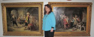 """PAIR 19th cent. DUTCH OIL PAINTINGS signed GONTHIER 2 Large and Magnificent Antique Dutch Oil on Canvas Paintings. 19th Century. Each Signed """"Gonthier"""". One is Titled """"Le Duel"""" and the other is """"La Partie d'échecs"""". Frames each measures 51-1/2"""" tall x 64-1/2"""" wide. Condition of Oil Paintings is very good. Condition of frames is good to fair. Some Wear and minor losses."""