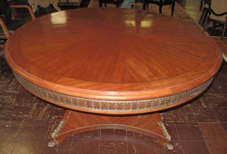 """FRENCH EMPIRE STYLE ROUND DINING TABLE French Empire Style Round Dining Table with Pedestal Base. Measures 31"""" tall x 65"""" wide. Condition is good. No damage."""