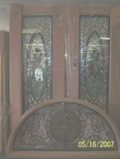 "Solid Mahogany Stained Glass 96"" Doors. We Have A large selection of Solid Mahogany Standard (80"") doors as well as 8 foot (96"") doors. These doors come in several varieties and styles. All have Tempered Glass surrounding the stained glass panels. We have single doors and  2,3 or 4 piece sets including several sets with Half round Transoms. Please contact us for our current inventory."