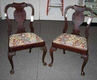 Lovely Pair of Antique Mahogany Side Chairs This is a Lovely pair of antique Mahogany Queen Anne style Side Chairs. Circa early 19th century. Condition is very good to excellent. Fabric is not original of course. Serious inquires Please contact us. Click on Picture to see Price and additional photos of this item.