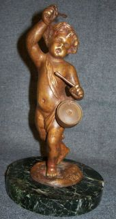 "Antique Bronze Sculpture of Drummer Boy This is an Antique Bronze Sculpture of a little Drummer Boy. Signed Clodian. Stands 9"" tall. Very good condition. Serious inquires Please contact us. Click on Picture to see Price and additional photos of this item."