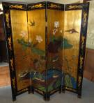 "Vintage Oriental 4 Panel Screen Vintage Oriental 4 Panel Screen or Room Divider. Very well done. Each panel measures 72"" tall x 16"" wide. Condition is good with minimal wear and minor surface scratches (see photo close-ups). Starting Bid $150. Auction Estimate $200 - $300."