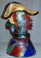 "Vintage Murano Glass Bust Signed Stefano Toso Rare, Vintage Murano Multi Color Glass Bust of a Gondolier by Stefano Toso. Homage to Picasso. Artist Signed. Weighs aprox 50 lbs. Measures 21-1/2"" tall x 15"" wide. Condition is Mint. Excellent. No damage at all. The Toso family has a 700-year uninterrupted tradition of Murano glass blowing, creating glass vessels that became the jealously guarded treasures of Venetian aristocracy. Starting Bid $2500. Auction Estimate $3000 - $3500."