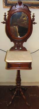 "Rare Antique Carved Walnut Victorian Shave Stand Rare Antique Carved Walnut Victorian Marble top Shaving Stand with Mirror. One Single Drawer. Stands 68"" tall x 20-1/2"" wide x 15"" deep. Condition is very good. Minor wear. No Damage. Starting bid $300. Auction Estimate $350 - $500."