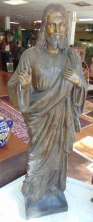 "Life size Bronze Jesus Sculpture Beautiful Life size Bronze Jesus Sculpture. Excellent quality and detail. He stands 63"" tall (5 ft, 3 inches) x 23"" wide x 18"" deep. Condition is excellent. New. No Damage. Starting Bid $2000. Auction Estimate $2300 - $3000."