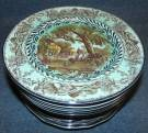 "18 Royal Staffordshire Rural Scenes 8"" Plates 18 Antique Royal Staffordshire Rural Scenes 8"" Plates in Green glazed finish. Condition is good. No damage. Starting Bid $60 for all. Auction Estimate $80 - $100."