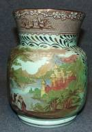 "Royal Staffordshire Jenny Lind 1795 Vase Large Antique Footed Royal Staffordshire Pottery Vase in the Jenny Lind pattern with a green glazed finish. Measures 7"" tall. Condition is good. No damage. Starting Bid $50. Auction Estimate $60 - $100."
