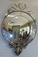 "Round Venetian Style Mirror Elegant Round Venetian Style Mirror. Measures 44"" tall x 28"" wide. Condition is New in the Crate. No Damage. Starting Bid $250. Auction Estimate $300 - $400."