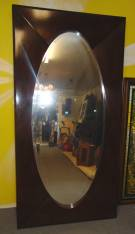 "Contemporary Deco Style Oval Mirror Contemporary Deco Style Oval Mirror. Rectangle frame with beveled mirror inset. Very Large. Measures 84"" x 42"". Hangs either vertical or horizontal. Condition is very good. Small surface scratches. No Damage. Starting Bid $150. Auction Estimate $180 - $250."