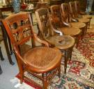 "Set of 4 Antique Mahogany Cane Bottom Chairs Set of 4 Antique East Lake Mahogany and Cane Bottom Dining Chairs. Each measures 34-1/2"" tall x 18"" wide. Condition is very good. No Damage. Starting Bid $100 for all 4. Auction Estimate $120 - $200."