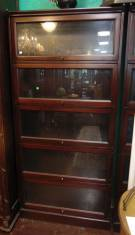 "Mahogany Lawyers or Barristers Bookcase Mahogany Lawyers or Barristers Bookcase. Not an antique. 5 Level, One piece unit. Stands 77"" tall x 36"" wide. Condition is good. Starting bid $300. Auction Estimate $400 - $500."