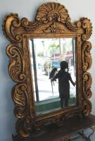"Decorators Gold Beveled Mirror Decorators Gold Beveled Mirror. Composite on wood frame. Measures 57"" tall x 42"" wide. Condition is New, Mint. No Damage. Starting Bid $100. Auction Estimate $120 - $240."
