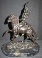 "Bronze Western Buffalo Signal Sculpture after Remington Limited Edition Bronze Western Sculpture after Frederick Remington on a Marble Base. Signed and Numbered 23 of 100. Measures 12-1/2"" tall x 10"" wide. Condition is very good. No damage. Starting bid $100. Auction Estimate $150 - $180."
