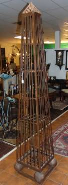 "Unusual Iron Obelisk Trellis Cabinet Unusual and Large, Wrought Iron Obelisk Trellis Cabinet. 1 Door with 3 shelves. Measures 86"" tall. Overall condition is very good with minor wear. Several Shipping Options Available. Starting Bid $150. Auction Estimate $200 - $250."