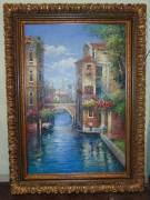 "Giant Venice Oil Painting  Giant sized, Framed Oil on Canvas Painting of Venice. Measures 88"" tall x 65"" wide. Condition is very good. No Damage. Several Shipping Options Available. Starting Bid $500. Auction Estimate $750 - $1,000."