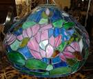"Tiffany Style Stained Glass Hanging Light Fixture Tiffany Style Domed Stained Glass Hanging Light Fixture with Floral Pattern. Measures 19"" wide. Condition is very good with minimal wear. No damage. Several Shipping Options Available. Starting Bid $80. Auction Estimate $100 - $150."