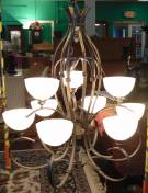 "Contemporary Iron 9 Light Chandelier Large Contemporary Iron 9 Light Chandelier. Iron with 9 Frosted Glass Globes. Measures 40"" tall x 35"" wide. Condition is very good with minimal wear. No damage. Starting Bid $150. Auction Estimate $250 - $350."