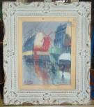 "Vintage Paris Oil Painting of Moulin Rouge 1954 Vintage Paris Street Scene Painting. Framed Oil Painting of Moulin Rouge and Apollo. Artist signed and date 1954. Frame measures 21-1/2"" tall x 18"" wide. Condition is good with some stain on matting. Also small chip in frame. No Damage. Starting Bid $100. Auction Estimate $150 - $250."