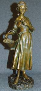 "Antique Bronze Figure ""Joseph D'Aste"" (1881 - 1945) Beautiful Antique Patinated Bronze figure by listed Artist ""Joseph D'Aste"" (Italian/French, 1881 - 1945). Titled ""Flower Seller"". Signed D'Aste. Mint condition. Stands 13-1/4"" tall. Joseph d'Asté , also called Giuseppe D'Aste , Joseph D'Aste or Joseph d'Aste , is a sculptor of Italian origin born in Naples in 1881 and died in 1945 , who worked mainly in France , more precisely in Paris. Starting Bid $500. Auction Estimate $900 - $1,200."