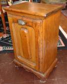 "Antique Pine Coal Box Cabinet  Antique Pine Coal Box Cabinet or Purdonium. Used for Fireside Coal Storage. Measures 29"" tall x 18"" wide x 12-3/4"" deep. Condition is good with minimal wear. No damage. Marked ""J.A & J.L Holliday - Wheeling W Va"". Several Shipping Options Available. Starting Bid $70. Auction Estimate $80 - $100."