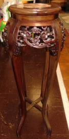 "Oriental Marble Top Plant Stand Oriental Carved Mahogany Plant Stand with Marble Top. Measures 36"" tall x 11"" wide at top. Condition is very good with minimal wear. No damage. Several Shipping Options Available. Starting Bid $100. Auction Estimate $120 - $200."