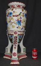 "Large Hand Painted Porcelain Vase  Beautiful Hand Painted Vase or Umbrella Stand. Well executed. Measures 26-1/2"" tall x 12"" wide. No Makers mark. Condition is very good. No Damage. Starting Bid $100. Auction Estimate $120 - $150."