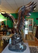 "Life Size Bronze American Bald Eagle Sculpture Amazing Life Size Bronze American Bald Eagle Sculpture on a Black Marble Base. Very heavy. Aprox 120-150 lbs. Excellent quality and detail with various shades of patina. Bronze may be used indoor or outdoor. He Stands 44"" tall x 35"" wide. Condition is New, Mint. No Damage. This Sculpture is made entirely from Bronze with a Marble Base. Several Shipping Options Available. Starting Bid $500. Auction Estimate $1,200 - $1,400."