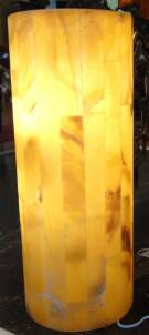 "Contemporary Onyx Stone Backlit Pedestal Lamp Contemporary Onyx Stone Backlit Pedestal Lamp. Art Deco Style. Measures 29-1/2"" tall x 11-3/4"" wide. Condition is New, Mint. No Damage. Several Shipping Options Available. Starting Bid $300. Auction Estimate $350 - $400."