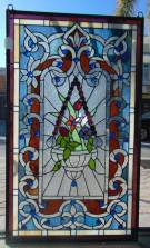 "Custom Stained Glass Hanging Panel Custom Made Stained Glass Hanging Panel. Excellent quality. Measures 34-3/4"" tall x 20-1/2"" wide. Condition is New. No Damage. High Quality Leaded Stained Glass with Vibrant Colors. Several Shipping Options Available. Starting Bid $80. Auction Estimate $100 - $120."