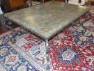 "Pietra Dura Marble Coffee Table with Wrought Iron Base Beautiful Pietra Dura Marble Coffee Table with Wrought Iron Base. Very heavy. Measures 22"" tall x 46"" wide x 36"" deep. Condition is very good. No damage. Several Shipping Options Available. Starting Bid $150. Auction Estimate $160 - $200."
