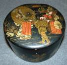 "Vintage Papier Mache Black Lacquered Trinket Box Papier Mache Black Lacquered Trinket Box with Hinged Lid. Hand painted. Measures 3 "" tall x 5-1/2"" wide. Overall condition is good with minor wear. Several Shipping Options Available. Starting Bid $80. Auction Estimate $80 - $120."