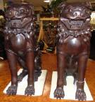"Pair (2) Large Bronze Sculptures of Foo Dogs Fabulous pair (2) of Bronze Foo Dogs. Large & Heavy. Each measures 29"" tall x 10-1/2"" wide x 22"" deep. Condition is New, Mint. No Damage. Sculptures are made entirely from Bronze. Several Shipping Options Available. Starting Bid $1,000. Auction Estimate $1,200 - $1,500."