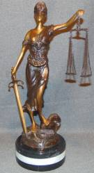 "Bronze Scales of Justice Sculpture on Marble Bronze Scales of Justice Sculpture on a thick Triple Marble Base. She measures 18-1/2"" tall. Condition is New, Mint. No Damage. This Sculpture is made entirely from Bronze with a Marble Base. Starting Bid $250. Auction Estimate $280 - $350."