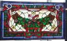 "Custom Stained Glass Hanging Panel  Custom Made Stained Glass Hanging Panel. High Quality Leaded Stained Glass with Vibrant Colors. Measures 20-1/2"" tall x 34-1/2"" wide. Condition is New. No Damage. Several Shipping Options Available. Starting Bid $100. Auction Estimate $120 - $150."