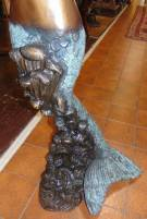 "Life Size Bronze Mermaid Fountain Sculpture Life Size Bronze Mermaid with Shell, Fountain Sculpture. She stands 50"" tall. This sculpture functions as a fountain feature as well. High Quality Bronze with excellent Detail and various shades of patina. Bronze may be used indoor or outdoor. This Sculpture is made entirely from Bronze. Condition is New, Mint. No Damage. Several Shipping Options Available. Starting Bid $100. Auction Estimate $900 - $1,250."