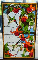 "Custom Stained Glass Hanging Panel with Hummingbirds Custom Stained Glass Hanging Panel with Hummingbirds. High Quality. Measures 34-1/2"" tall x 20-1/2"" wide. Condition is New, Mint. No Damage. Several Shipping Options Available. Starting Bid $50. Auction Estimate $120 - $150."