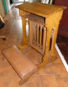"Antique Gothic Oak Church Padded Kneeler Antique Gothic Oak Church Padded Kneeler. Measures 34"" tall x 23-1/2"" wide x 28"" deep. Overall condition is good. Wear consistent with age and use. Several Shipping Options Available. Starting Bid $50. Auction Estimate $60 - $120."